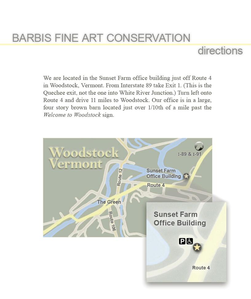 Barbis Fine Art Conservation: Directions to our studio